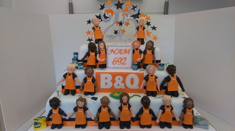 This cake was done for a very good friend who works at b&q. To celebrate the branch anniversary for 25 years. It was fun to do and apparently went down well with the staff. Congratulations to all involved in today's fun and games . And thank you for the order x: Swipe To View More Images