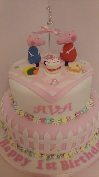A lovely 2 tier sponge cake for a first birthday. Happy birthday Ava.: Swipe To View More Images